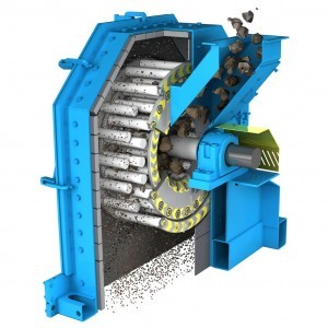 view of the inside of a grinding machine that is grinding grain